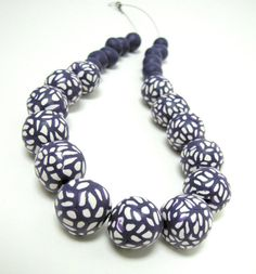Purple chunky necklace - polymer clay beaded statement necklace by FrozenFairytale