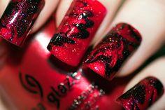 Red & black marble nail polish design