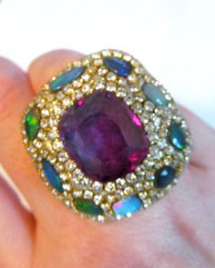 Purple faceted Ametrine and ethiopian opals by YaronaJewelryDesign, $349.00