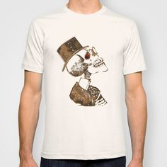 Steampunk Skeleton T-shirt  DESCRIPTION  American Apparel Fine Jersey T-shirts are made with 100% fine jersey cotton combed for softness and comfort. ABOUT THE ART  Just in time for Halloween and the Day of the Dead. An antique gold Steampunk inspired skeleton. Top hat, glasses, Victorian, goth, unique, skeletal, skull, evil, dead
