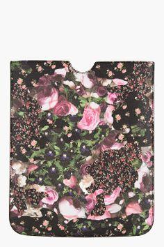 GIVENCHY Black & Pink pebbled Floral Camo iPad Sleeve
