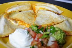 Three cheese quesadilla with a kick! @Sarah King Cheese
