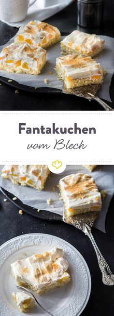 Lockerer Boden, eine cremige Schicht mit Pfirsichstückchen und oben drauf Zimt … Loose ground, a creamy layer with peach pieces and on top cinnamon and sugar: finished are peach-Schmand-cuts that really everyone likes. Cheesecake Desserts, Chocolate Cheesecake, Sweet Recipes, Cake Recipes, Creamy Layer, Chocolate Dipped Cookies, Fantasy Cake, How To Make Cake, Love Food