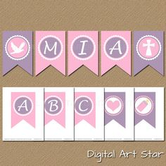 Printable Alphabet Pennant Banner / Create Your by digitalartstar