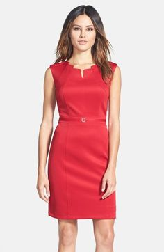 Ellen Tracy Angular Neckline Scuba Sheath Dress | Nordstrom