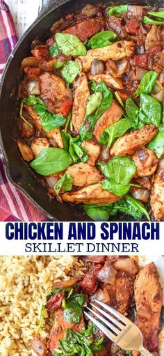 and Spinach Skillet Dinner Chicken and Spinach Skillet Dinner is an easy delicious dinner you can have on the table in no time at all.Chicken and Spinach Skillet Dinner is an easy delicious dinner you can have on the table in no time at all. Healthy Dinner Recipes For Weight Loss, Best Dinner Recipes, Healthy Recipes, Dinner Healthy, Keto Dinner, Vegetarian Recipes, Easy Recipes, East Healthy Dinners, Healthy Dinner With Chicken