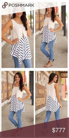 "Navy Striped Asymmetrical Tunic || S, M, L Absolutely ready for summer in this Tunic! 65% Cotton 35% Poly. Measurements flat across: Bust || S 18"" M 19"" L 20"" Length 
