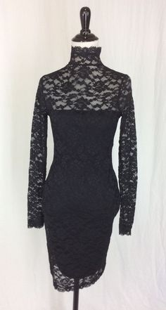 New Victoria's Secret Moda International XS Black Lace Stretchy Bodycon Dress #VictoriasSecret #StretchBodycon