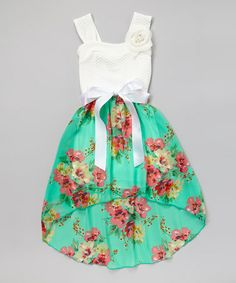 this would look so cute on kennedy Mint & White Floral Hi-Low Dress #zulily #zulilyfinds