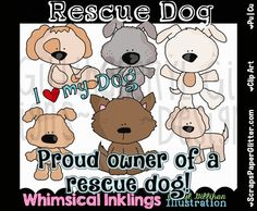 Rescue Dogs Clip Art, Commercial Use, Clipart, Digital Image, Png, Graphic, Digital, Instant Download, Pet, Animal Shelter, Adoption, Puppy by ResellerClipArt on Etsy