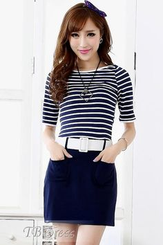 Stunning Middle Sleeves Royal Blue Striped Dress