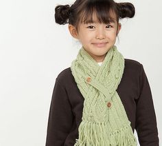 For sewing scarves too. Like tab idea of keeping scarf together at front instead of a 'knot' for kids. Ravelry: Gauzy Button Kids' Scarf pattern by Pierrot (Gosyo Co., Ltd)http://www.ravelry.com/patterns/library/gauzy-button-kids-scarf#