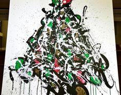 JonOne Toile. 1 m x 1 m. Canvas - Sapins de Noël des Créateurs - 15/12/2014