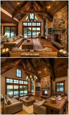 Rustic Living Rooms Ideas - Rustic style is a preferred interior design specific. - Rustic Living Rooms Ideas – Rustic style is a preferred interior design specifically matched to p - Rustic Design, Rustic Style, Rustic Bedroom Design, Rustic Kitchen Design, Style At Home, Log Cabin Homes, Log Cabin Kitchens, Cabin Style Homes, Rustic Kitchens