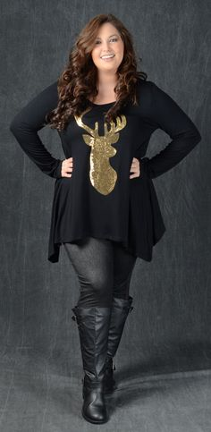 Black Main Long Sleeve Gold Sequin 94% Rayon 6% Spandex Shown with Dark Wash Navy Jeggings & Black Buckle Boots