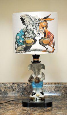 Antique Decanter Republican Elephant Lamp & Shade