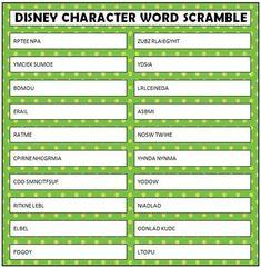 Free printable Disney Character Word Scramble #FamilyFun