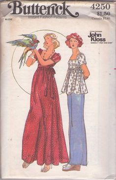 MOMSPatterns Vintage Sewing Patterns - Butterick 4250 Vintage 70's Sewing Pattern DREAMY Young Designer John Kloss Empire Waisted Square Neckline Flared Babydoll Smock Top, Pants, Flared Maxi Caftan Party Gown Size 14