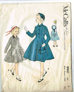 Sewing Pattern McCalls 9941: Girls' princess coat. My mother made me this coat.