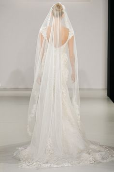 A beautiful chapel length wedding veil is embroidered with lace and crystalsfor the Eve of Milady Fall 2013 bridal collection.