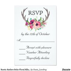 Rustic Antlers Boho Floral Allure Wedding Card - With enchanting rustic boho style, this wedding RSVP Card design features deer horns beautifully embellished with watercolor florals in rich purple and pink hues. Sold at Oasis_Landing on Zazzle.
