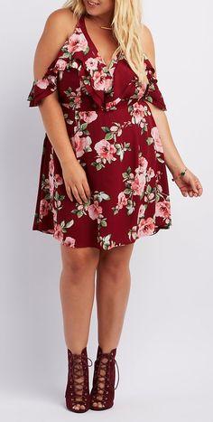 So cute!  Plus Size Floral Ruffle Cold Shoulder Dress