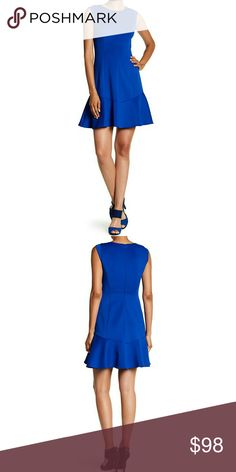 NWT, Vince Camuto Blue Laguna Shift Dress Crew neck. Cap sleeves. Back hidden zip with hook-and-eye closure. Flared hem. Scuba construction. Lined. Shell: 95% polyester, 5% spandex. Lining: 100% polyester. Dry clean. Fit: this style fits true to size. Color: Royal blue. NWTA! Vince Camuto Dresses