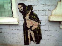 banksy-graffiti-street-art-mona-lisa-bum
