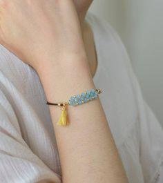 Crystal beaded bracelet Bohemian tassel bracelet B… Bracelets Fins, Tiffany Bracelets, Diy Bracelets Easy, Bead Loom Bracelets, Jewelry Bracelets, Mother's Day Bracelet, Tassel Bracelet, Stone Bracelet, Bracelet Making
