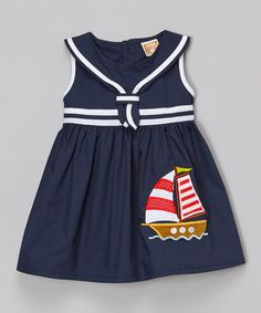 Another great find on #zulily! Navy Sailboat Dress - Toddler & Girls #zulilyfinds