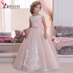 First Communion Dresses For Girls Scoop Backless With Appliques And Bowtulle Ball Gown Pageant Dresses For Little Girls Cheap Flower Girl Dress Cheap Flower Girl Dresses Under 30 From Officesupply, $54.8| Dhgate.Com