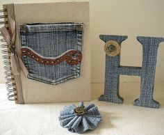 Old jeans on book and on initial letter!!! Bebe'!!! Love these ideas!!!