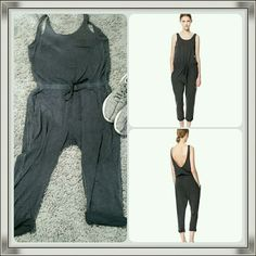 Acid Wash Gray Zara Jumpsuit w/Open back Drapy, comfy, sexy, stylish and easy to wear. Gray is acid was with an almost tye dye affect. Size Large but fits a medium just fine. Zara Pants Jumpsuits & Rompers