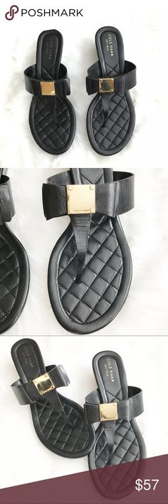 """Cole Haan Black Tail Bow Wedge Sandals Size 6.5B Cole Haan Tail Bow Wedge Sandals  Size 6.5B  -  Ret. $150 -  Subtle stacked wedge -  Grand.OS technology  -  Cushioned Footbed -  1 3/4"""" heel -  Leather upper and lining/rubber sole -  True to size  Thanks for visiting! 🔥🔥🔥 Cole Haan Shoes Sandals"""