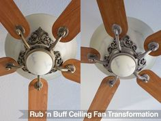 "They say the new hot finish in Home decor is gold and shiny brass. OK, I get that, but did aged brass EVER look good?"" Unfortunately, every ceiling fan in the house is diff… Gold Ceiling Fan, Home Ceiling, Rub And Buff, Painting Hardware, Ceiling Fan Blades, Diy Woodworking, Butler Pantry, Reality Check, Furniture Redo"