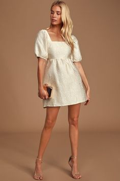 The Lulus Dreamers Wish Cream Square Neck Puff Sleeve Babydoll Dress makes a night out a little more exciting! Short puff sleeve mini dress with a cutout back. Satin Dresses, Sexy Dresses, Cute Dresses, Dress Outfits, Casual Dresses, Short Dresses, Fashion Dresses, Elegant Dresses, Babydoll Dress Outfit
