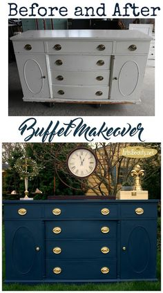 ART IS BEAUTY: Steel Blue Antique Buffet Makeover ~Themed Furniture Day
