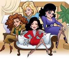 Love, love, love this episode from season five - the last season of Designing Women the classic quartet of Delta Burke, Dixie Carter, Jean Smart and Annie Potts Jean Smart, Comics Illustration, Illustrations, Celebrity Caricatures, Celebrity Drawings, Designing Women, Dixie Carter, Caricature From Photo, Delta Burke