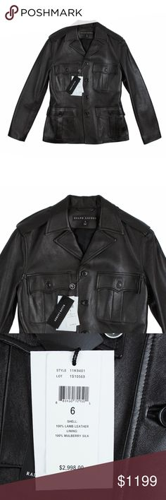 """New RALPH LAUREN Black Label Lamb Leather Jacket Size - 6  Absolutely gorgeous! This new black lamb leather jacket from RALPH LAUREN Black Label features button closures, front pockets and is fully lined in silk. The quality of the leather is a amazing - butter soft lamb leather. Retails for 2998.00. Brand new with tags attached.   Measures: Bust: 36"""" Total Length: 25"""" Sleeves: 24"""" Shoulder seam to shoulder seam in back: 15.25"""" Ralph Lauren Black Label Jackets & Coats"""