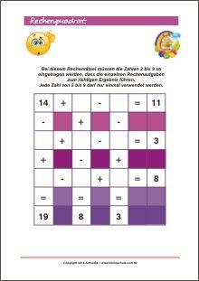 Rechenquadrat - Rechenrätsel Training für Kinder