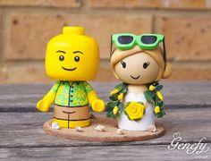 Cute hawaii beach themed wedding cake topper by GenefyPlayground, £148.00