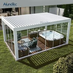 Waterproof Aluminium Gazebo Motorized Garden Outdoor Bioclimatic Pergola with Operable Louver Roof picture from Dongguan Aluno Industry Co. view photo of Pergola, Aluminum Pergola, Gazebo. Pergola With Roof, Covered Pergola, Pergola Shade, Patio Roof, Pergola Plans, Pergola Kits, Pergola Screens, Screened Gazebo, Gazebo Pergola