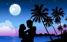 mar, playa, chico, Pareja, amor, Luna llena, noche, vector, silueta