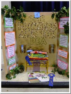 """Reading Fair Projects-M.F. in 6th grade did this and then others from the community were invited to """"judge"""" them. (Criteria: display, ivideo which was a trailer made by the kid for the book, knowledge of the book, and appearance of the child (business casual dress))"""