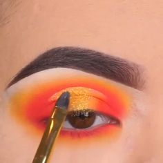 A sunset Tutorial by beauty amazing eye eyem Edgy Makeup, Makeup Eye Looks, Eye Makeup Art, Beautiful Eye Makeup, Crazy Makeup, Eyeshadow Makeup, Bright Eyeshadow, Makeup Eyes, Makeup Pictorial