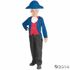 Cross the Delaware in the name of freedom in our Patriotic George Washington Costume for boys! George Washington Costume features a blue coat, red vest, white jabot and blue bicorn hat.