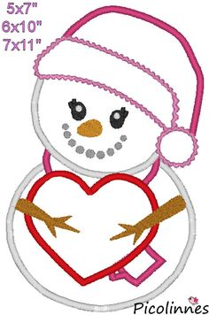 Snowman with Heart Christmas Love Machine by PicolinnesEmbroidery