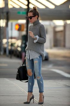 Great combo of edgy chic! Love the cable knit sweater over the casual button up. Pair with a great pair of distressed jeans and pumps. Love this look!