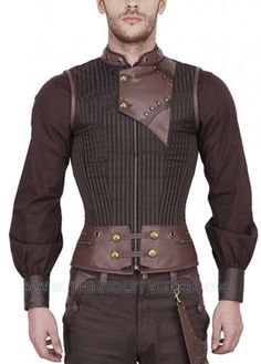 CLOUD WARRIOR Steampunk mens corset vest $159.00 AT vintagedancer.com