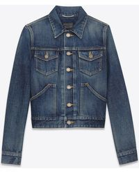 Saint Laurent | Original Western Jean Jacket In Dirty Dark Blue Denim | Lyst